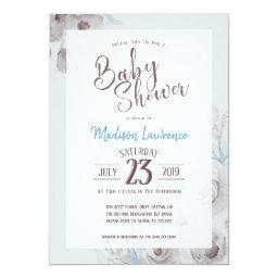 Elegant Floral Watercolor Baby Shower Invitation
