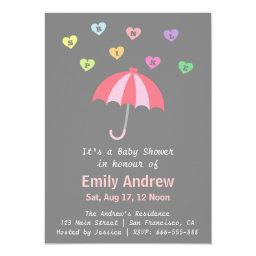 Elegant Girl Baby Shower with Love and Umbrella
