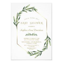 Elegant Gold Diamond Olive Baby Shower Invitation