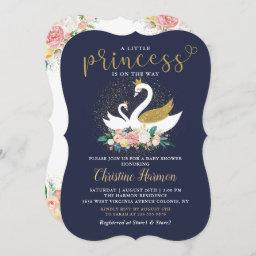 Elegant Gold Swan Princess Pink Floral Baby Shower Invitation