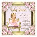 Elegant Pink Chair Pearls Pink Gold Baby Shower