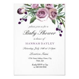 Elegant Plum Purple Rose Baby Shower