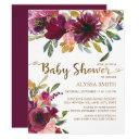 Elegant Purple Pink Gold Floral Script Baby Shower Invitation
