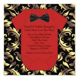 Elegant Red Black and Gold Baby Boy Shower