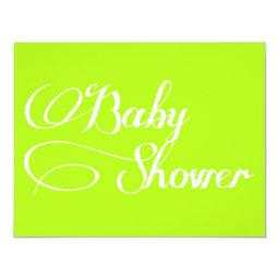 Elegant Script Chartreuse Baby Shower Invitations