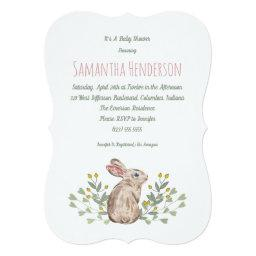 Elegant Spring Woodland Bunny Baby Shower Invite