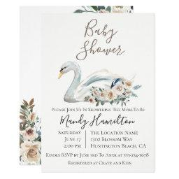Elegant Swan Floral Baby Shower Invitation