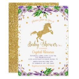Elegant Watercolor Floral Gold Unicorn Baby Shower