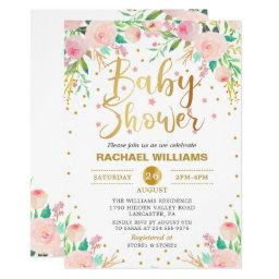 Elegant Watercolor Floral Pink & Gold Baby Shower Invitation