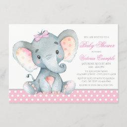 Elephant Baby Girl Shower Invitations