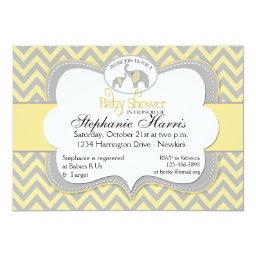 Elephant Baby Shower in Chevron Yellow and Gray