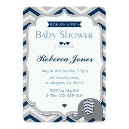 Elephant Baby Shower  Boy Blue Chevron