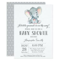 Elephant Baby Shower Invitation Gray