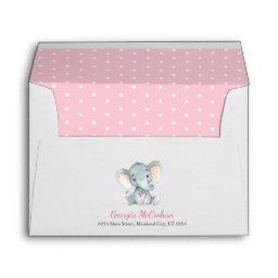 Elephant Baby Shower Invitation Pink And Gray Envelope
