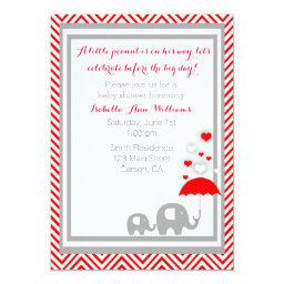 elephant  Invitation- Red and Gray