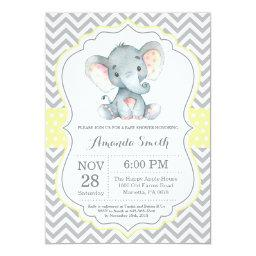 Elephant Baby Shower Invitation Yellow And Gray