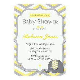Elephant Baby Shower  Yellow Chevron