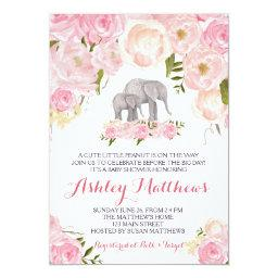 Elephant Baby Shower, pink floral