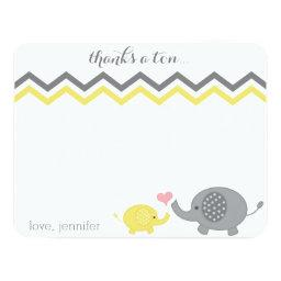 Elephant Baby Shower Thank You Yellow Gray Chevron