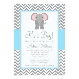 Elephant Chevron Light Blue Gray Baby Shower
