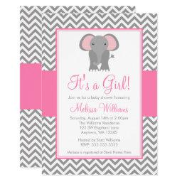 Elephant Chevron Pink Gray Girl