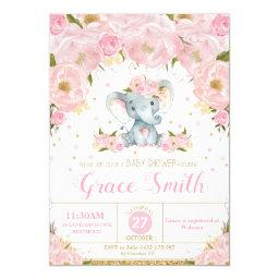 Elephant Floral Baby Shower  Girl