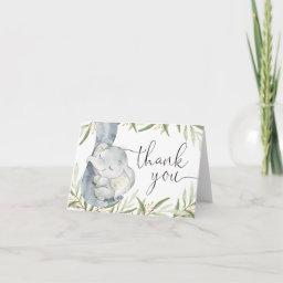 Elephant Gender Neutral Greenery Watercolor Thank You Invitations