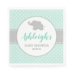 Elephant Mint Green Gray Polka Dot Baby Shower Napkin