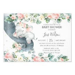 Elephant Pink Floral Greenery Baby Shower Invitation