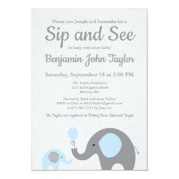 Elephant Sip And See Invitations In Blue And Gray