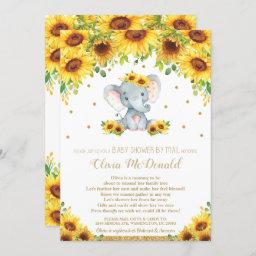 Elephant Sunflower Floral Baby Shower By Mail Girl Invitation