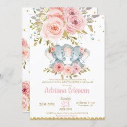Elephant Twin Girls Baby Shower Invitation Floral