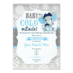 Elephant Winter Invitation For Boy Baby Shower