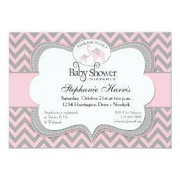 Elephants Baby Shower in Chevron Pink