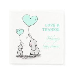 Elephants | Mint Heart Balloons Boy Baby Shower Napkin