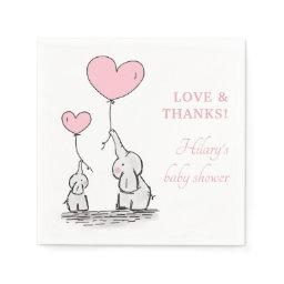 Elephants | Pink Heart Balloons Girl Baby Shower Napkin