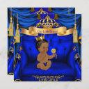 Ethnic Baby Shower Boy Prince Royal Blue Gold Invitation