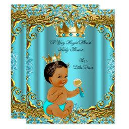 Ethnic Baby Shower Prince Gold Teal Aqua