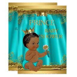 Ethnic Boy Prince Baby Shower Aqua Teal