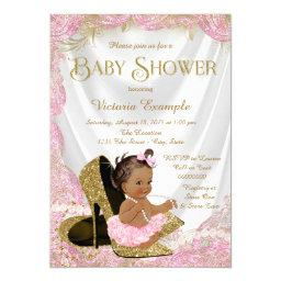 Ethnic Girl High Heel Shoe Pink Gold Baby Shower Invitation