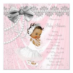 Ethnic Girl Pink Gray Satin Pearl Baby Shower