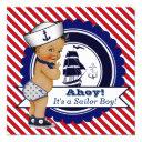 Ethnic Little Sailor Nautical Baby Shower Invitations
