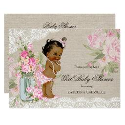 Ethnic Pretty Shabby Chic Lace Floral Baby Shower Invitations