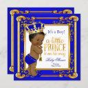 Ethnic Prince Baby Shower Blue Gold Crown Invitation