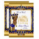 Ethnic Prince Baby Shower Blue Ornate Gold