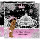Ethnic Princess Baby Shower Carriage Pink Black Invitation