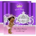 Ethnic Princess Baby Shower Carriage Pink Purple Invitation