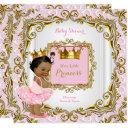 Ethnic Princess Baby Shower Pink Lace White Gold Invitation