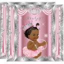 Ethnic Princess Baby Shower Pink Silver Ballerina Invitation