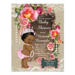 Ethnic Princess Burlap Lace Pearl Baby Shower